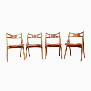 Oak Saw Back Chairs by Hans J. Wegner for A.L. Johansen & Søn, 1960s, Set of 4
