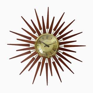 Mid-Century Sunburst Clock from Anstey & Wilson