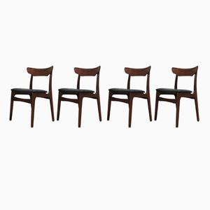 Rosewood and Teak Dining Chairs from Schionning & Elgaard, 1960s, Set of 4