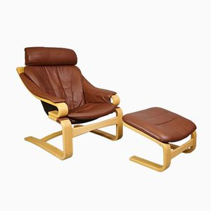 Brown Leather Armchair & Stool by Svend Skipper for Skippers Mobler, 1970s