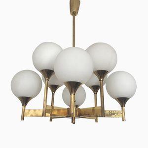 Brass & Opaline Glass Chandelier, 1960s
