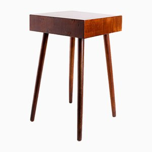 Small Vintage Brutalist Walnut Veneer Side Table