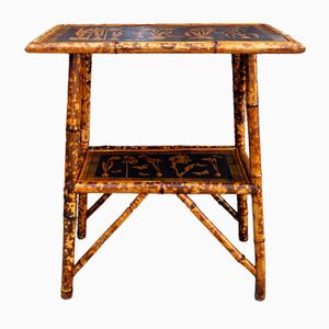 Antique Bamboo Table with Botanical Pattern