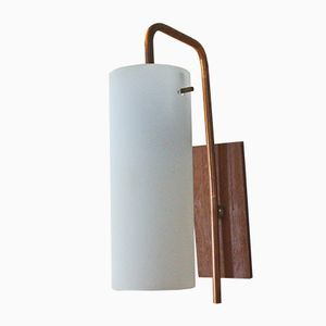 Teak Veneer & Copper Wall Lamp from Anonyme Manufaktur, 1960s