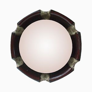 Round German Illuminated Ceramic Wall Mirror, 1960s