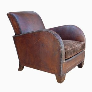 Vintage French Art Deco Leather Club Armchair