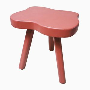 Red Lacquered Farmhouse Tripod Stool