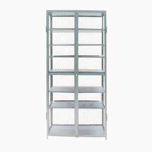 Industrial Metal Steel Cabinet with 6 Shelves, 1950s