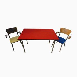 Vintage Klassenzimmer Tisch und Stühle von Willy van der Meeren für Tubax