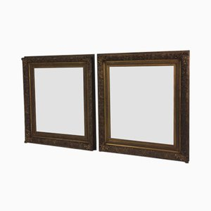 19th Century Dutch Feather Framed Wall Mirrors, Set of 2