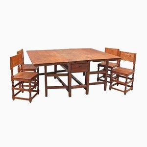 Esszimmerset mit Tisch und Vier Stühlen aus 18. Jhdt.