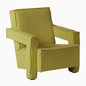 Vintage Armchair in Yellow Fabric