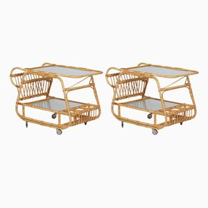 Vintage Bamboo Serving Carts, Set of 2