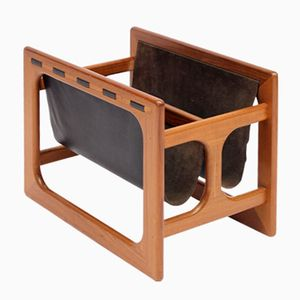Danish Teak and Leather Magazine Rack from Salin Møbler, 1970s