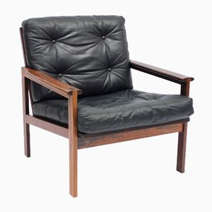 Cappella Rosewood and Leather Easy Chair by Illum Wikkelsø for Eilersen, 1960s