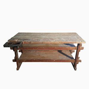 Tavolo da falegname vintage industriale in legno, anni '20
