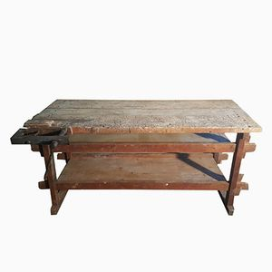Vintage Industrial Wooden Carpenters Table, 1920s