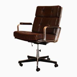 Vintage Swedish Office Chair in Brown Leather by Karl-Erik Ekseliius for Joc Vetlanda, 1960s