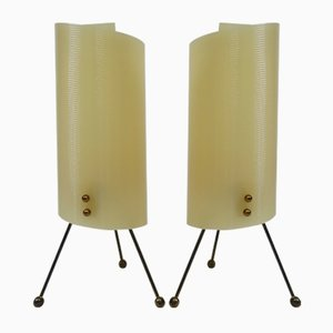 Brass Tripod Night Lights with Beige Plexiglass Shade, 1950s, Set of 2