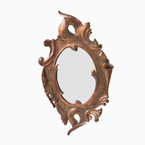 French Art Nouveau Wall Mirror in Solid Copper