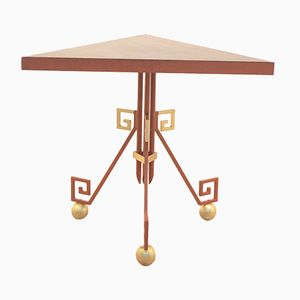 Geometrical Wood & Gilded Metal Tripod Side Table by ABP, 1962