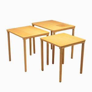 Danish Oak & Ceramic Nesting Tables from Toften Mobelfabrik, 1960s