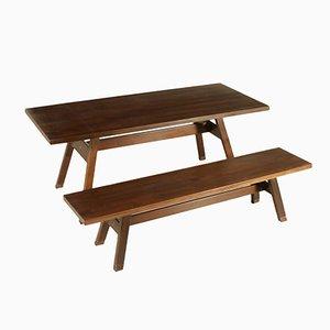 Italienischer Vintage Torbecchia Walnuss Furnier Tisch mit Sitzbank von Michelucci für Poltronova