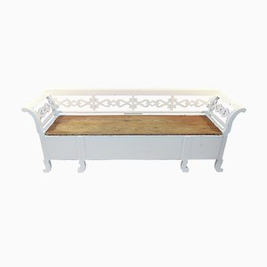 Swedish Kitchen Bench in White and Natural Wood, 1900s