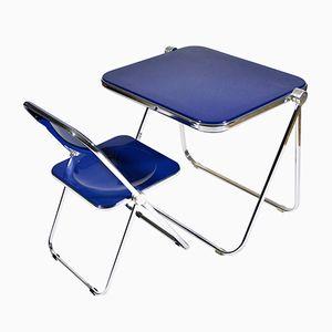 Mid-Century Platone Table & Plia Chair by Giancarlo Piretti for Anonima Castelli