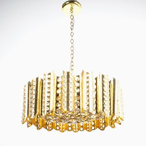 Large Gold Plated Brass and Crystal Chandelier by Gaetano Sciolari, 1960s