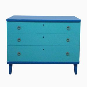 Vintage Blue Wooden Chest of Drawers