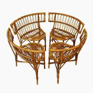 Mid-Century French Rattan Chairs, Set of 4