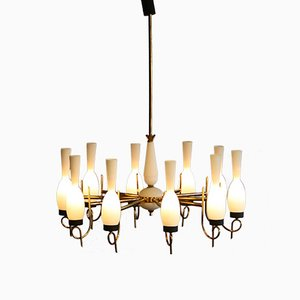 Italian Large Brass and Glass Chandelier, 1950s