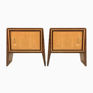 Vintage Mahogany Veneer Nightstands by Guglielmo Ulrich, Set of 2