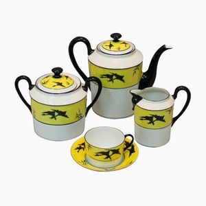 Vintage Art Deco Coffee Set in Porcelain from Limoges