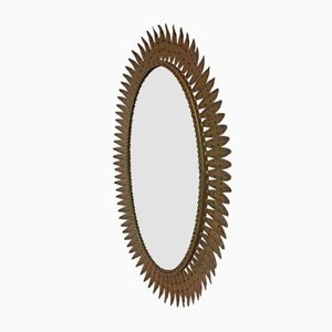 Vintage Oval Sunburst Wall Mirror