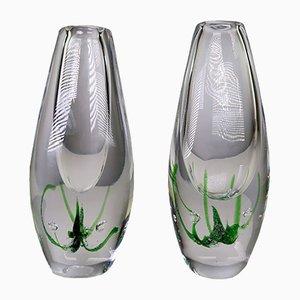 Vases Seagrass Art Mid-Century en Verre par Vicke Lindstrand pour Kosta, 1963, Set de 2