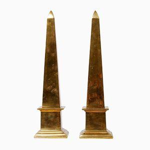 Vintage Brass Obelisks, 1970s, Set of 2