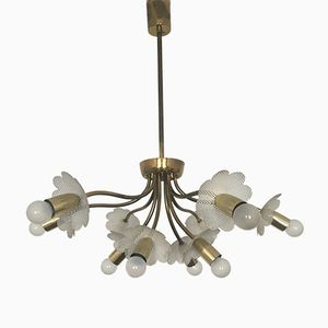 Italian Brass Chandelier with Perforated Metal Flowers, 1950s