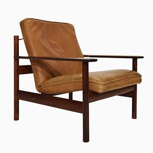 Rosewood & Leather Easy Chair by Sven Ivar Dysthe for Dokka Mobler, 1960s