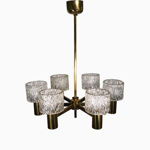 Six-Arm Scandinavian Chandelier by Carl Fagerlund for Orrefors, 1960s