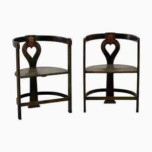 Antique Art Nouveau Chairs, Set of 2