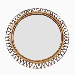 Französischer Spiegel aus Bambus & Rattan, 1960er