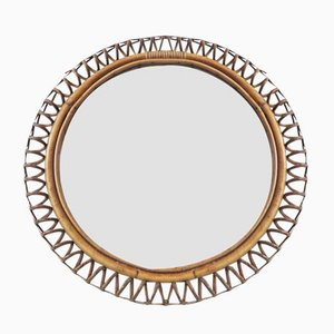 French Bamboo & Rattan Mirror, 1960s