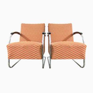Vintage Bauhaus Sessel mit Rohrrahmen von Kovona, 2er Set