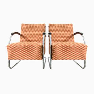 Vintage Bauhaus Tubular Steel Armchairs from Kovona, Set of 2
