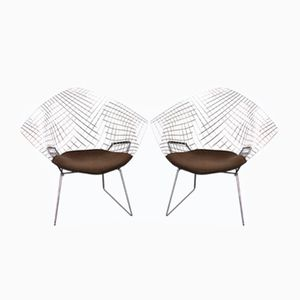 Chrome Diamond Chairs by Harry Bertoia for Knoll, 1970s, Set of 2