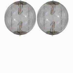 Vintage Glas Deckenlampen von Frank Ligtelijn für Raak, 1960er, 2er Set