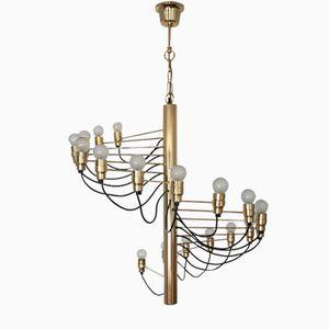 Spiraled Brass Chandelier from Staff, 1960s