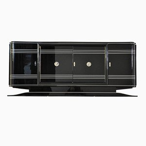 Großes Art Deco Sideboard mit Rotem Barfach